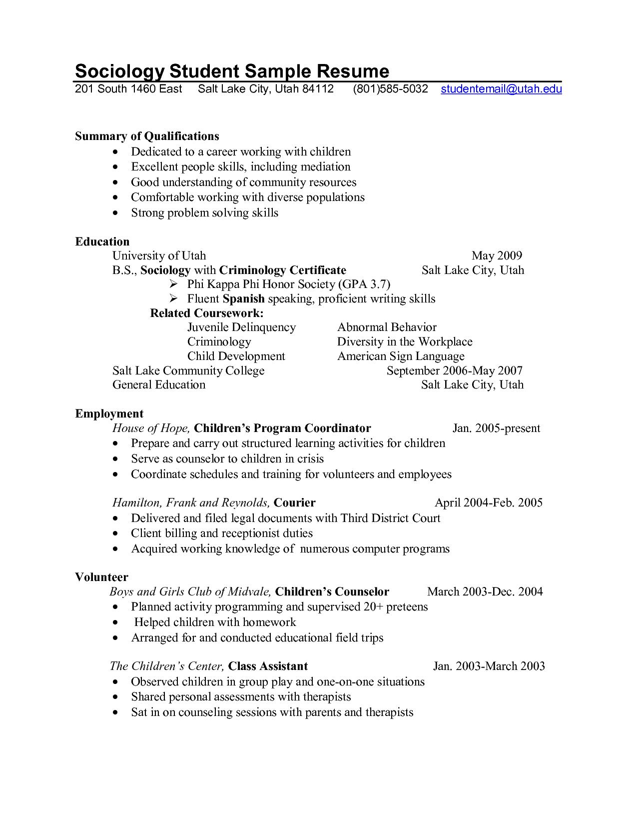 Professional School Counselor Resume | Sociology Student Sample Resume  South East Salt Lake City Utah