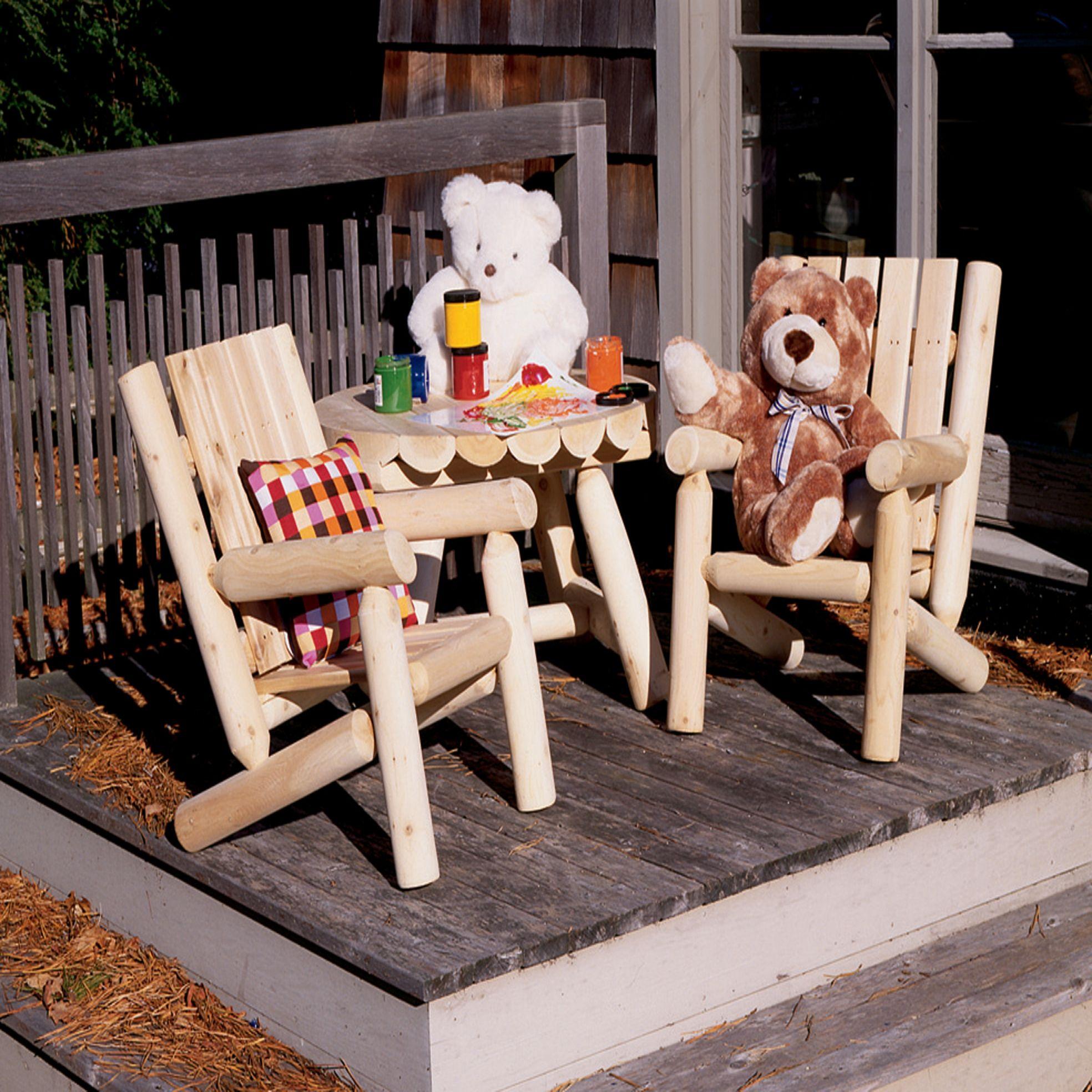 Cedar Adirondack Junior Log Chair by Rustic Natural Cedar