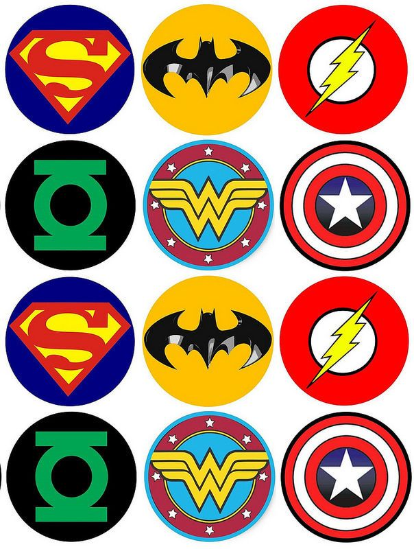 superman logo template for cake - 12 x wafer cupcake toppers superheroes batman superman