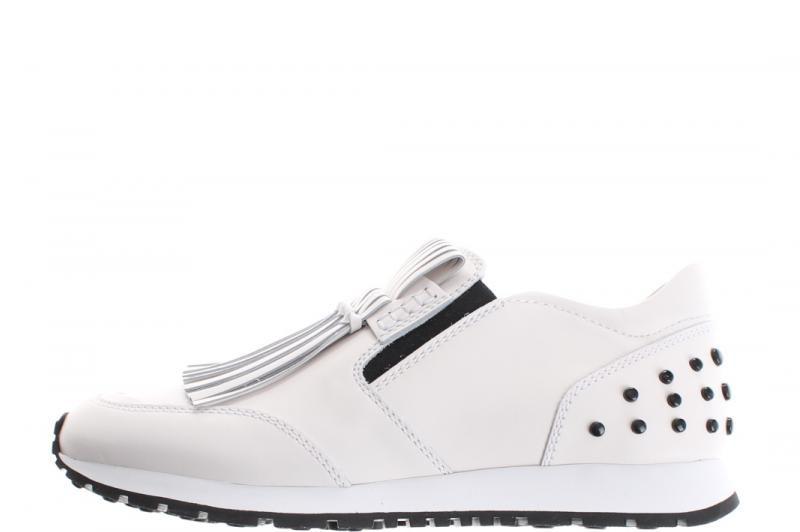 TOD'S sneaker wit leder met franjes