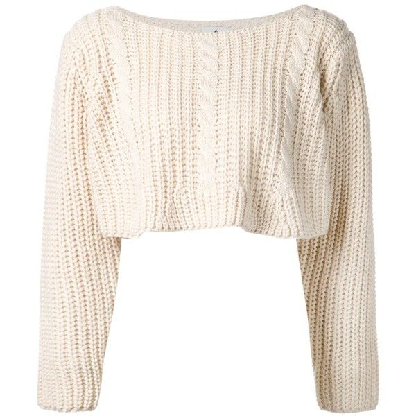 Unif cable knit sweater (400 BRL) liked on Polyvore featuring tops, sweaters, shirts, white ...