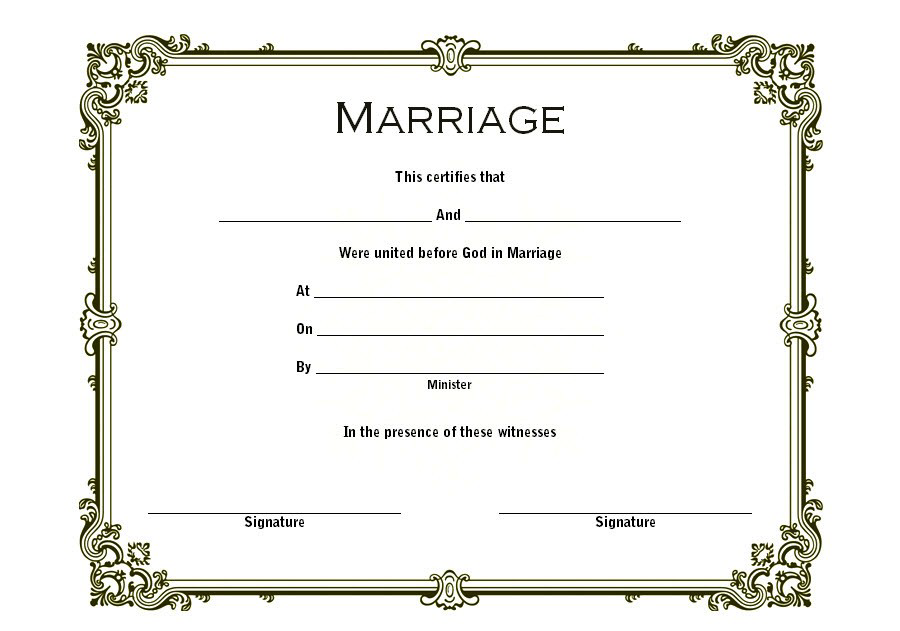 Free Fillable Marriage Certificate Template 2nd Design In 2020 Marriage Certificate Catholic Marriage Certificate Templates