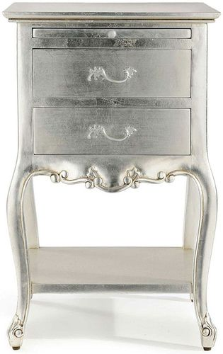 Chateau Silver Bedside Table Silver Leaf Silver Bedroom Silver