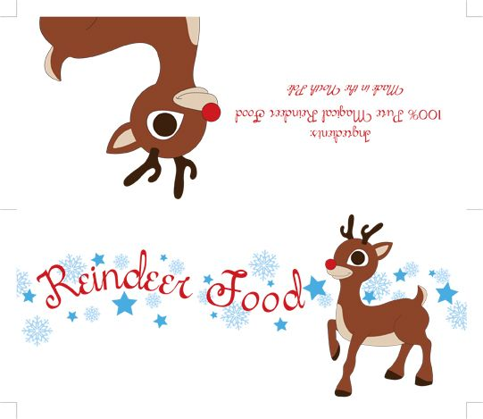 Free printable reindeer food label reindeer food food for Personalized letter from santa with reindeer food