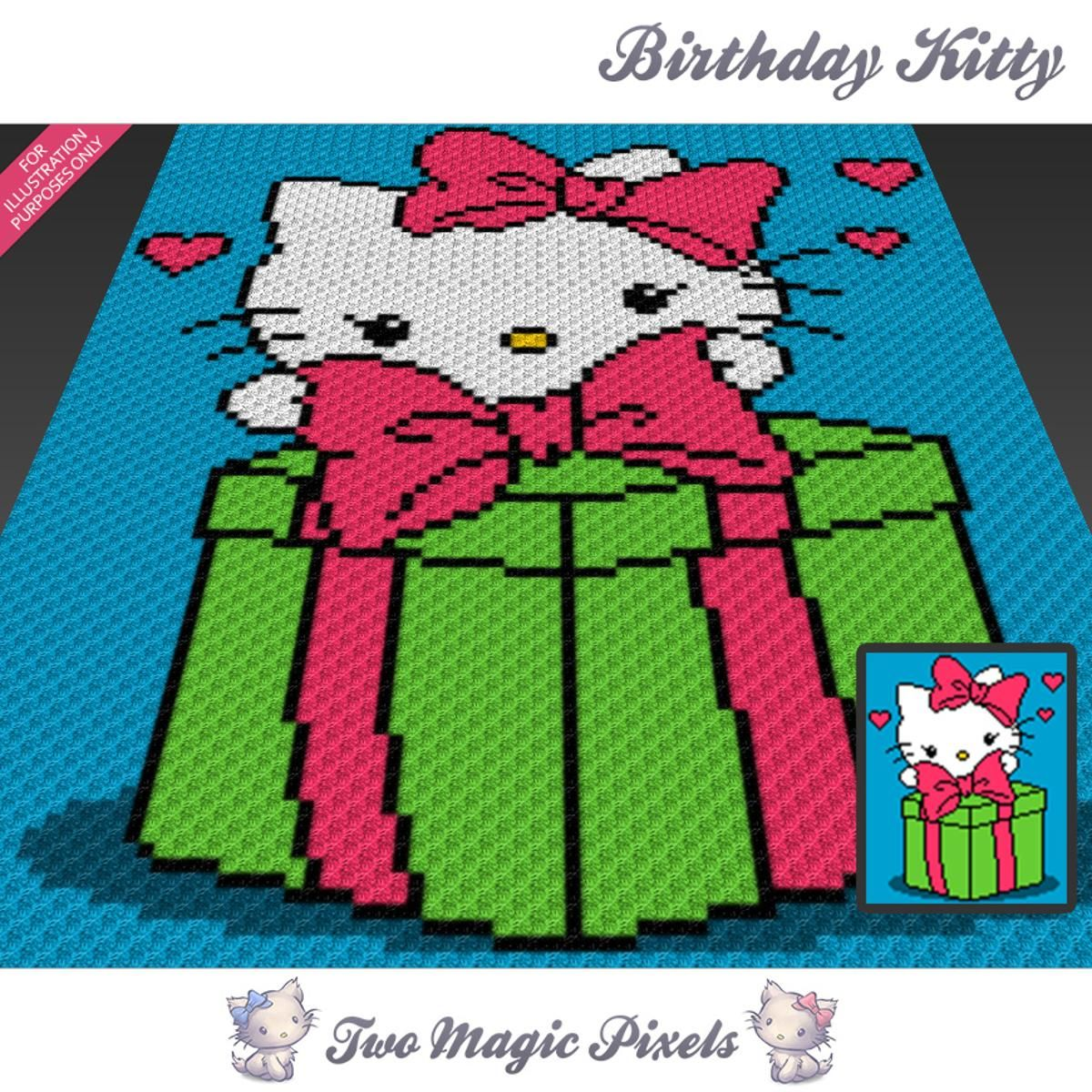 Birthday Kitty C2C Crochet Graph | Decken