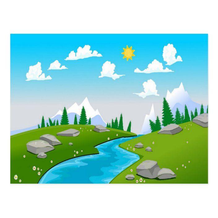 Lovely landscape drawing postcard