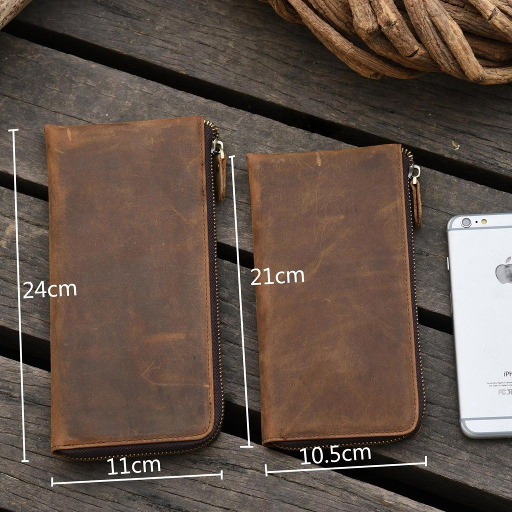 Handmade Leather Mens Cool Long Leather Wallet Zipper Clutch Wallet for Men #leatherwallets