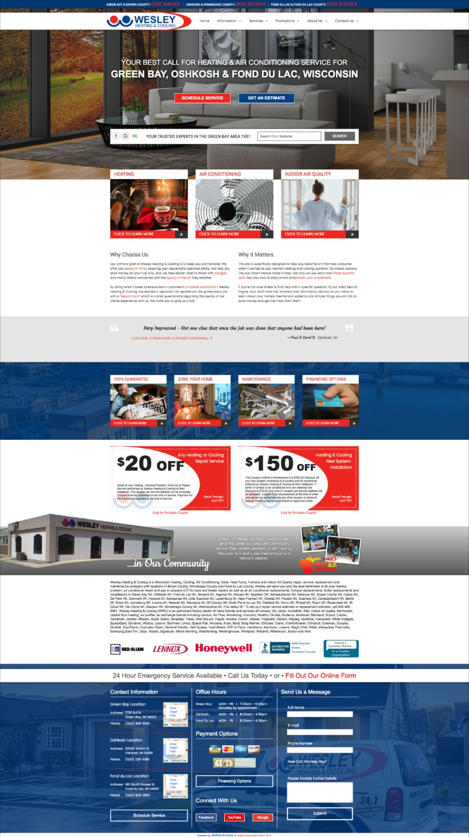 Seasonal heating and air conditioning website design in