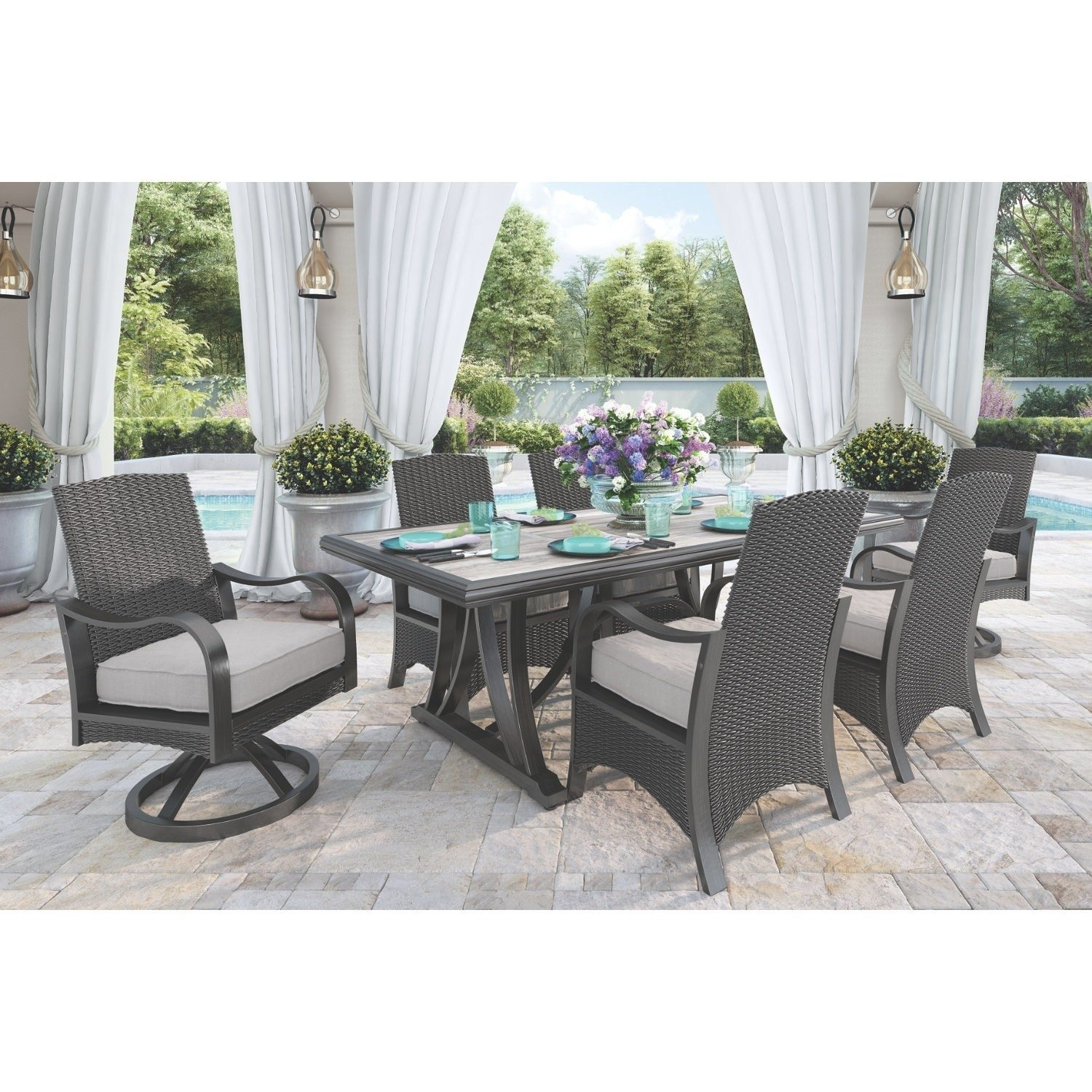 Marsh Creek Outdoor Dining Chairs Set Of 2 Gray Brown And Gray