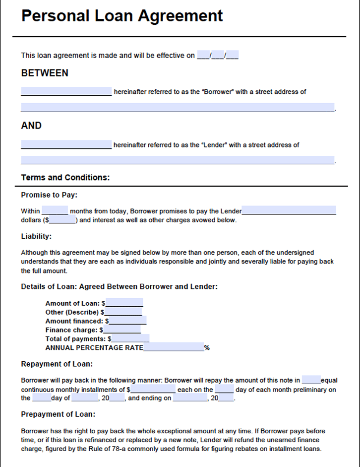 Loan Agreement Form202 Personal Loans Private Loans Contract Template