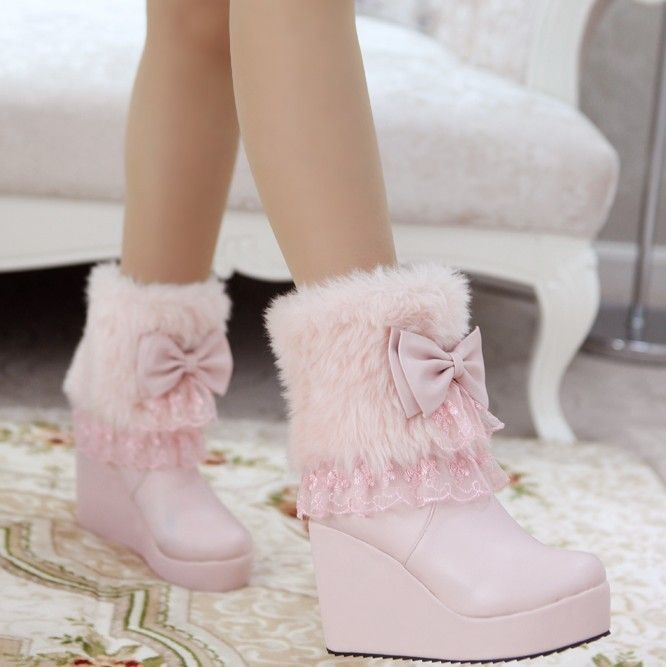 Aliexpress.com : Buy Free shipping high heels short plush winter snow boots warm feathers bow snow boots from Reliable boots suppliers on ENMAYER CO., LIMITED $71.50 - 75.50