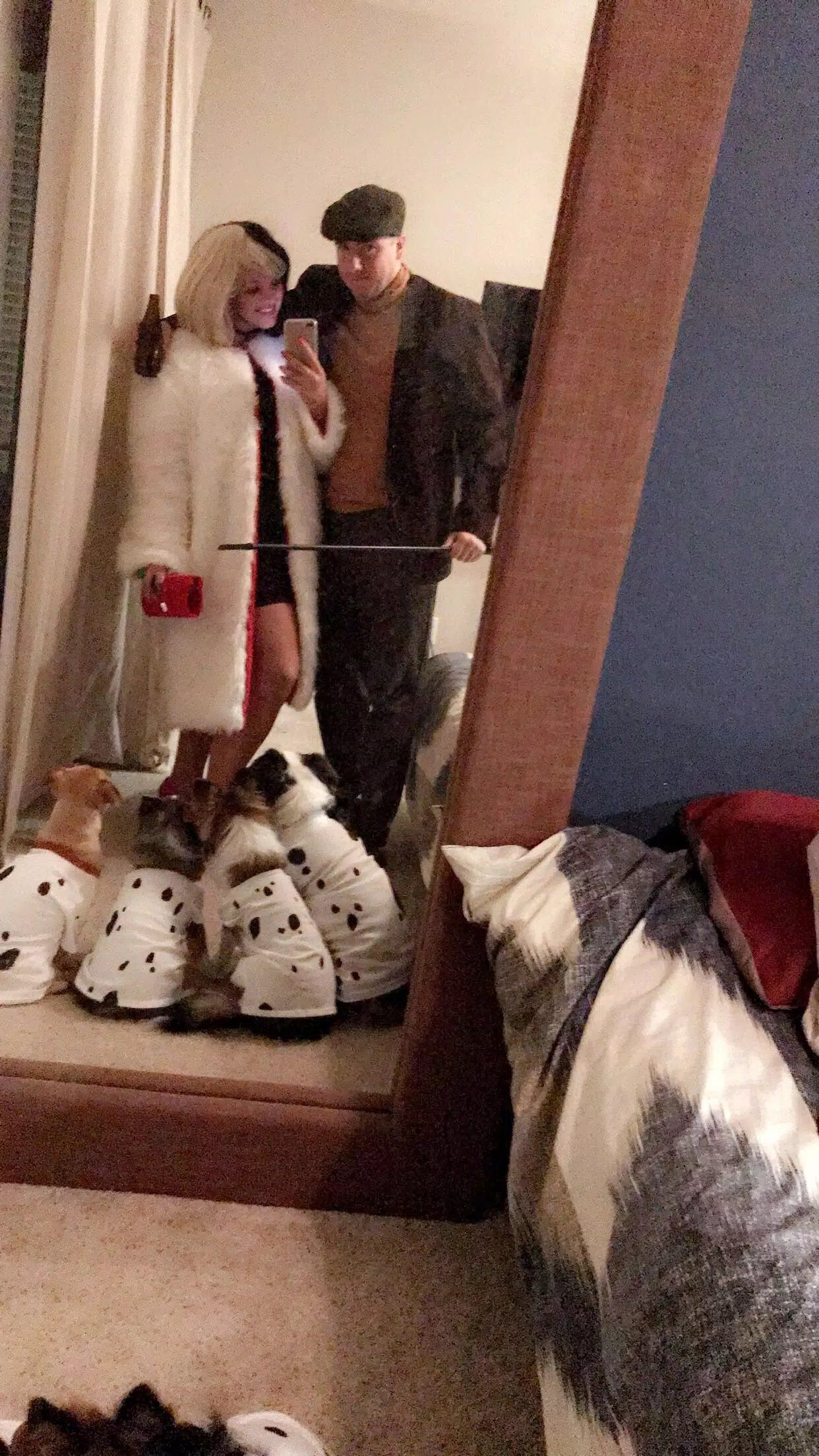 Cruella De Ville And Dog Catcher Couples Costume Themed Halloween Costumes Dog Halloween Costumes Diy Couples Costumes