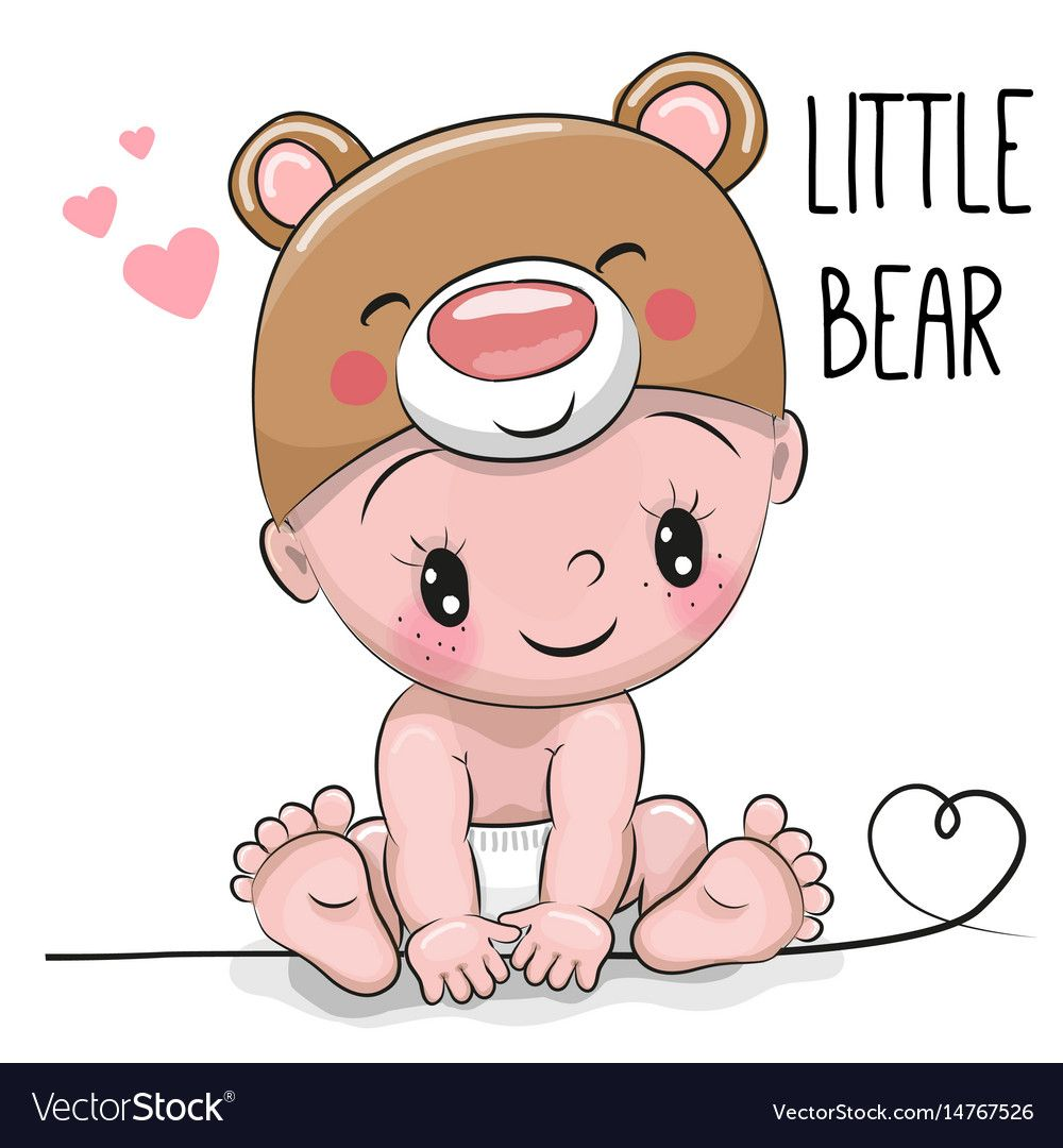 Cute cartoon baby boy in a bear hat vector image on | Bébé ...