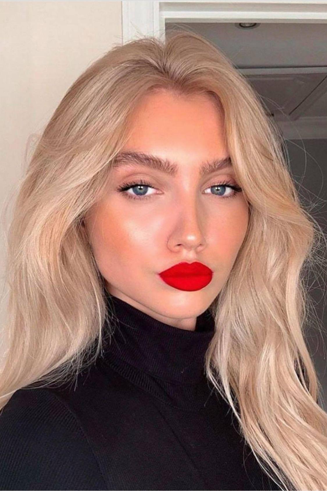 makeupwomenideaslipsredlipsticknudeeyesface