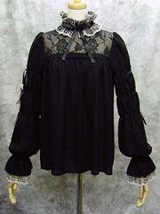 Holy Cross Collar Blouse  Elegant Gothic Lolita (EGL) item. / High-necked blouse features original holy cross lace on its collar and cuffs. Collar is removable.