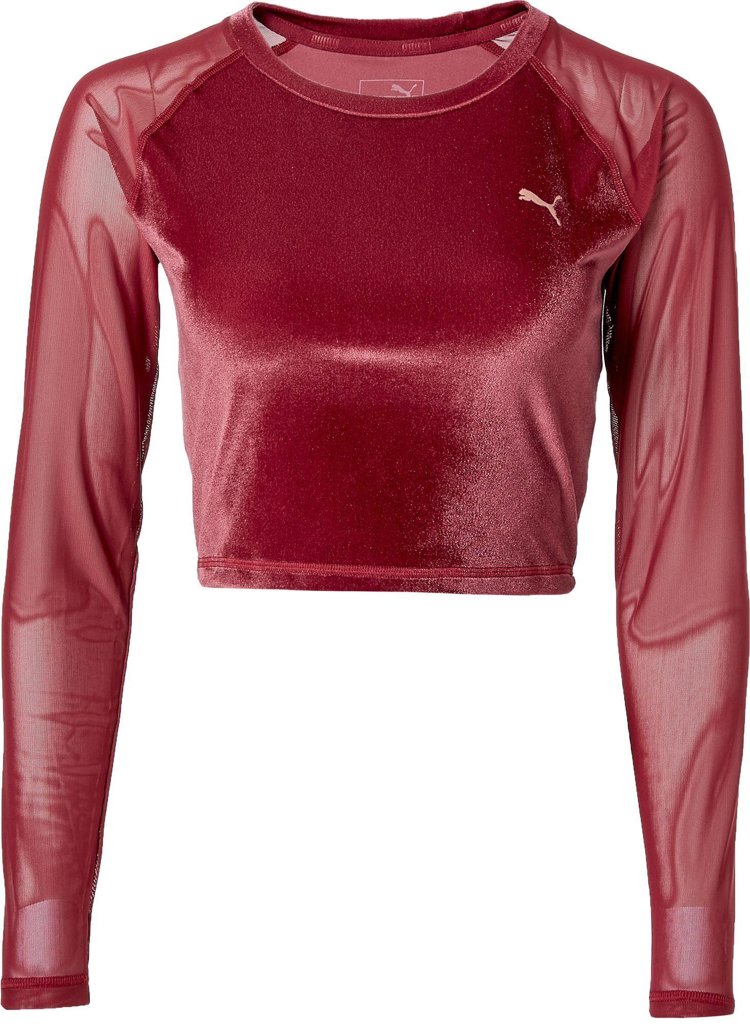 5fbaa3a9f93 Puma Women's Explosive Velvet Crop Top, Size: Large, Brown ...