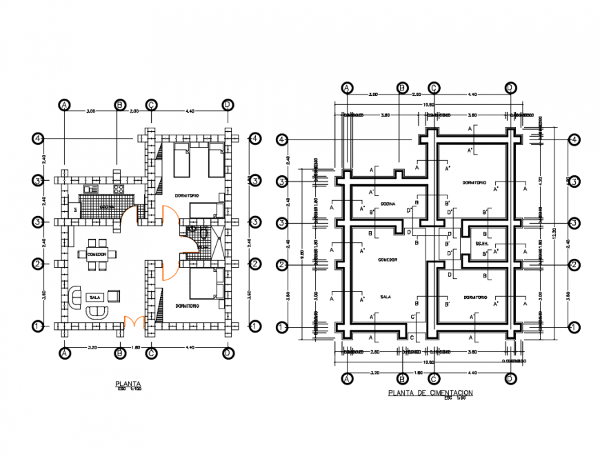 Foundation Plan And Layout Plan Details Of Single Story House Dwg File Story House Open House Plans House Plans