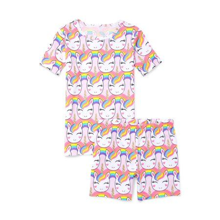 b36ce01c7c5a Girls' Short Sleeve Allover Unicorn Printed 2 Piece Pajama Sleep Set (Little  Girl & Big Girl), Size: 8, Multicolor