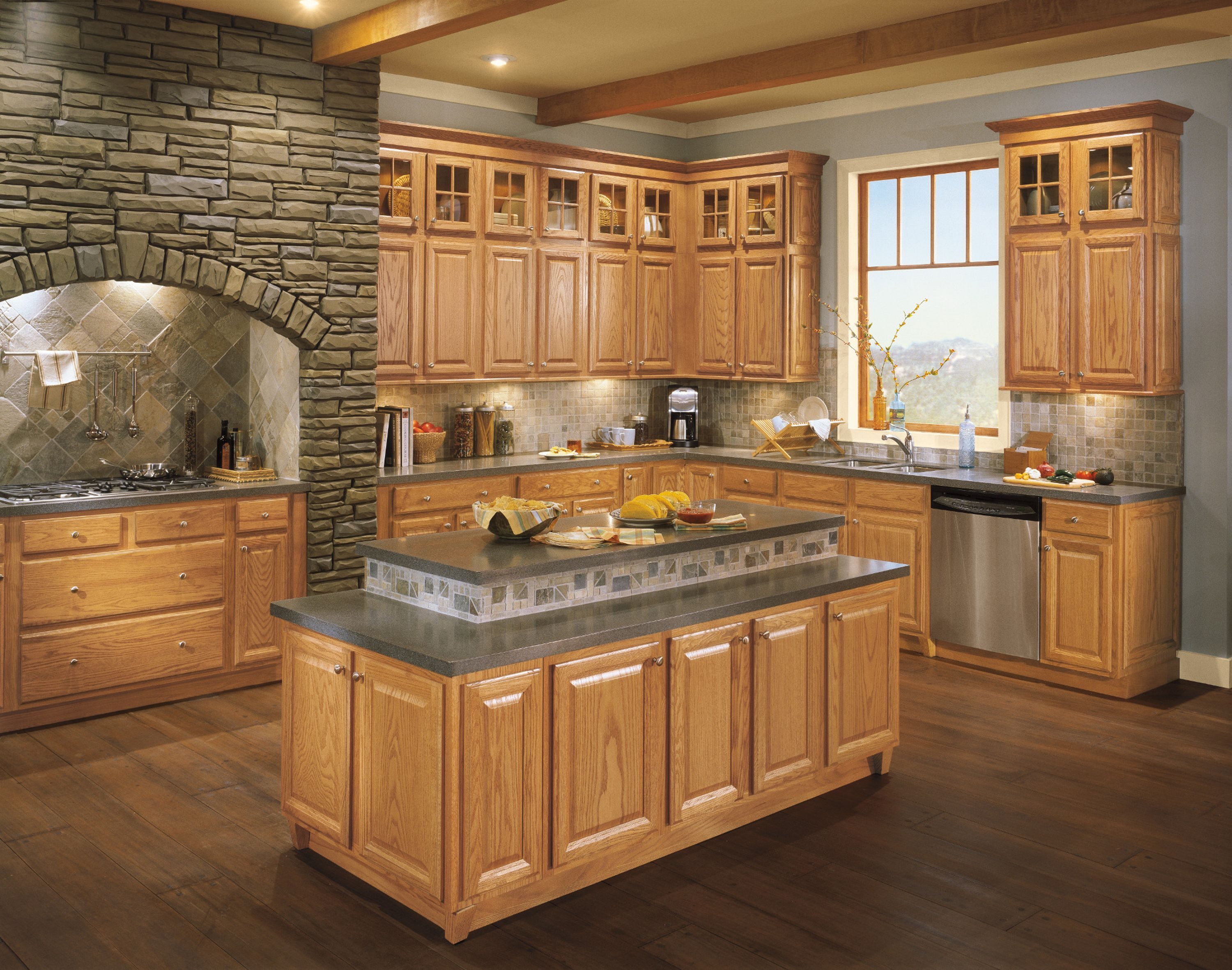 Bluemont Shenandoah Cabinetry Kitchen Flooring Honey