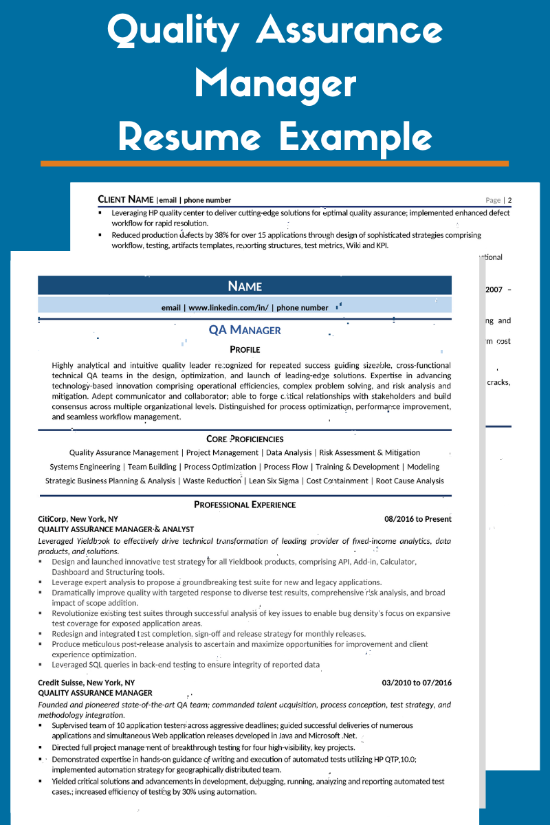 Qa Manager Resume Example Template For 2020your Complete Guide On How To Write A Quality Assuranc Manager Resume Resume Examples Professional Resume Examples