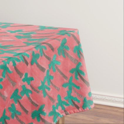 #pink   #Watercolor Palm Tree Pattern Tablecloth