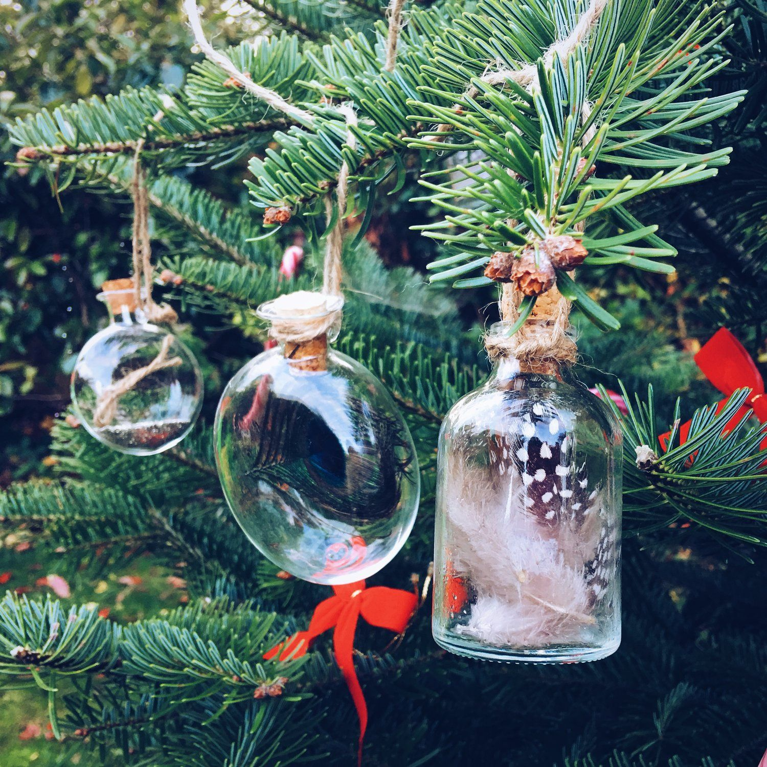 Make These Simple Glass And Cork Bottle Tree Decorations