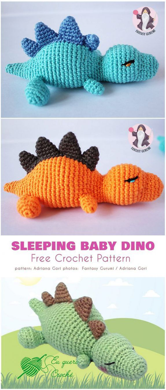 Photo of Sleeping Baby Dino Free Crochet Pattern
