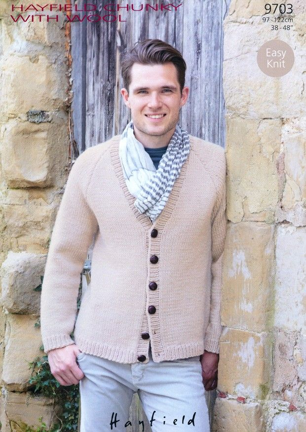 Sirdar Hayfield Chunky With Wool Mens Cardigan Knitting Pattern 9703 ...