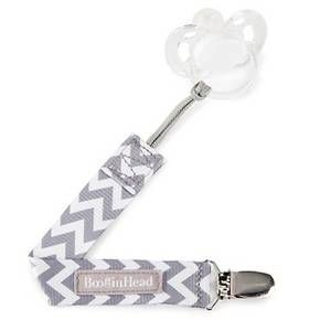Personalized Name Unisex Grey Chevron Baby Pacifier Clip