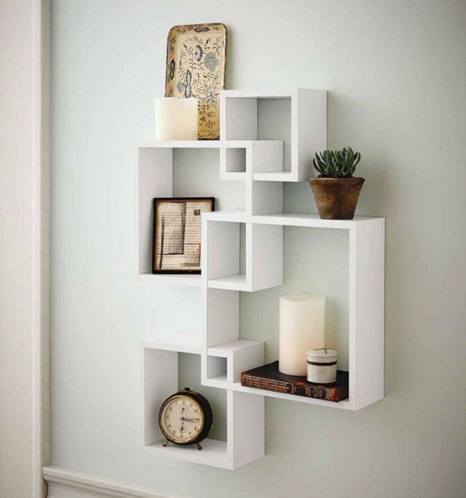 10 Modern Living Room Decoration With Diy Floating Shelves Ideas 4