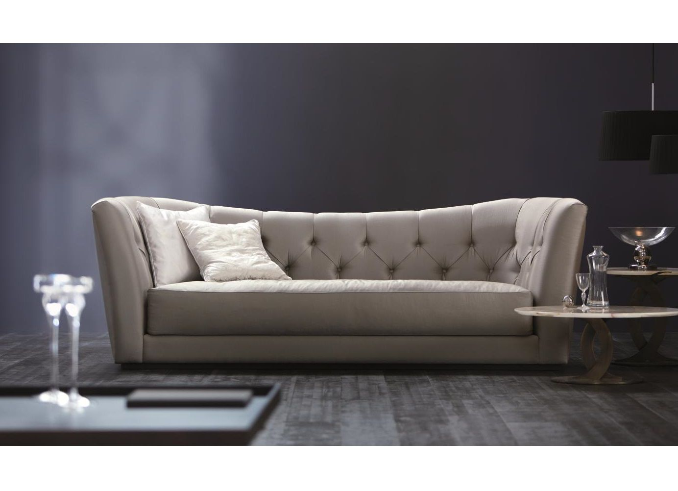 emma tufted sofa outdoor cover australia butterfly 3 seater modern