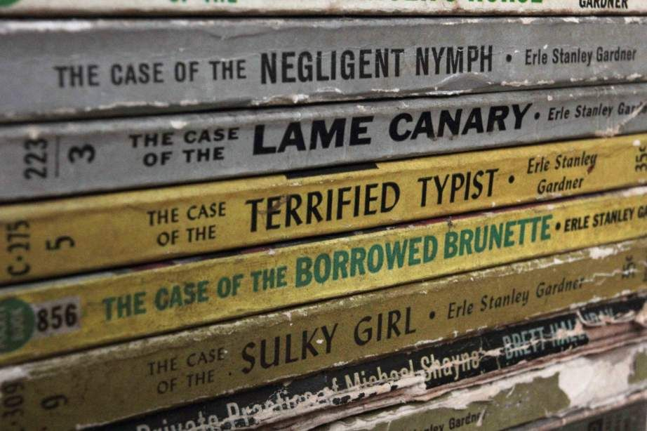 the case of the sulky girl - book spines [in Kolkata?]
