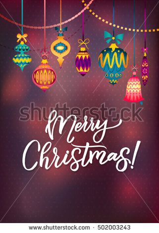 Merry Christmas Greeting Card with Colorful Retro Glass Toys Vector