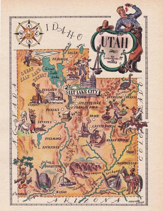 photograph about Printable Map of Utah titled Outdated map of Utah, a amusing pictorial map against the 1940s