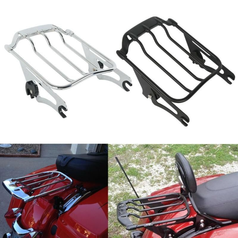 PBYMT Black Detachable Two Up Air Wing Luggage Rack Compatible for Harley Touring Road King Street Glide Electra Glide 2009-2020