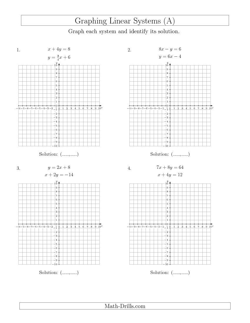 New 2015-04-16! Solve Systems of Linear Equations by Graphing (Mixed ...