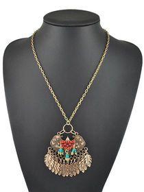 Forma de abanico étnico de la borla de la vendimia del collar de estilo de los granos de la Mujer