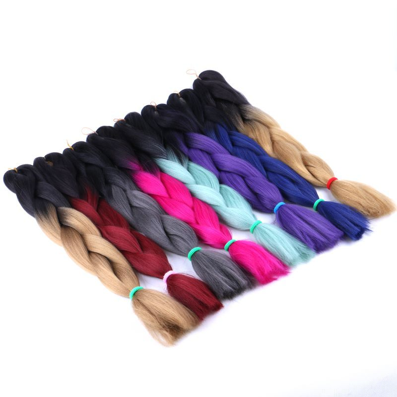 Hair Extensions & Wigs Luxury 1pack Navy Neon Olive Green Lavender Lilac Vintage Pink Kanekalon Synthetic Jumbo Braiding Hair 24 60cm 80grams Hair Braids