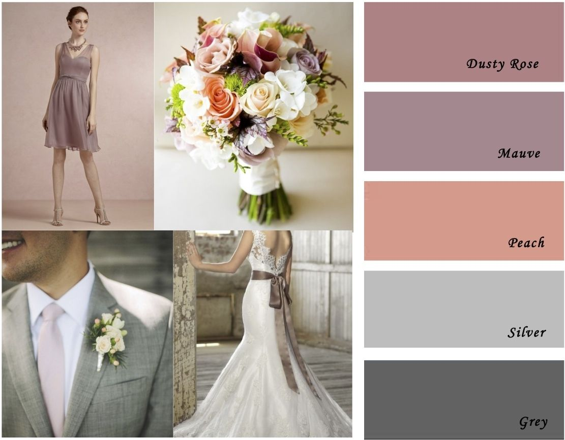Wedding colors mauve peach and grey color palette  Color schemes