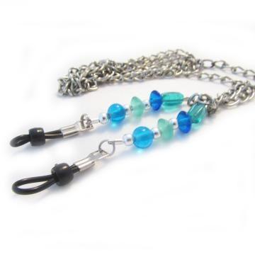 Eyeglass Lanyard, Sea Green & Blue Lanyard, Ocean Colored Beaded Lanyard, Eyeglass Chain, Pretty Lanyard by earthlietreasures for $21.95