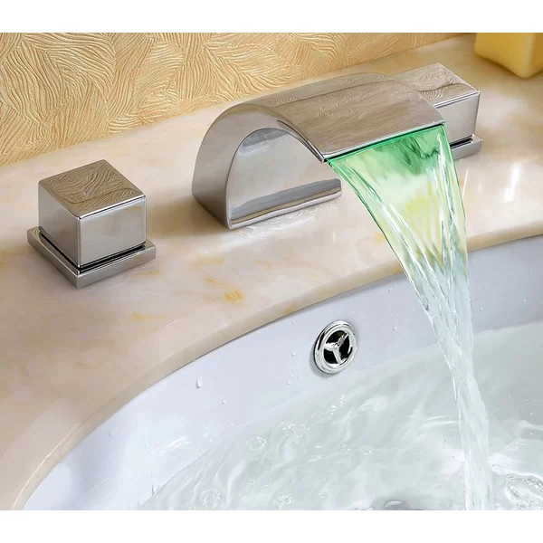 Widespread Led Waterfall Bathroom Sink Faucet Bathroom Sink Faucets Sink Faucets Led Faucet