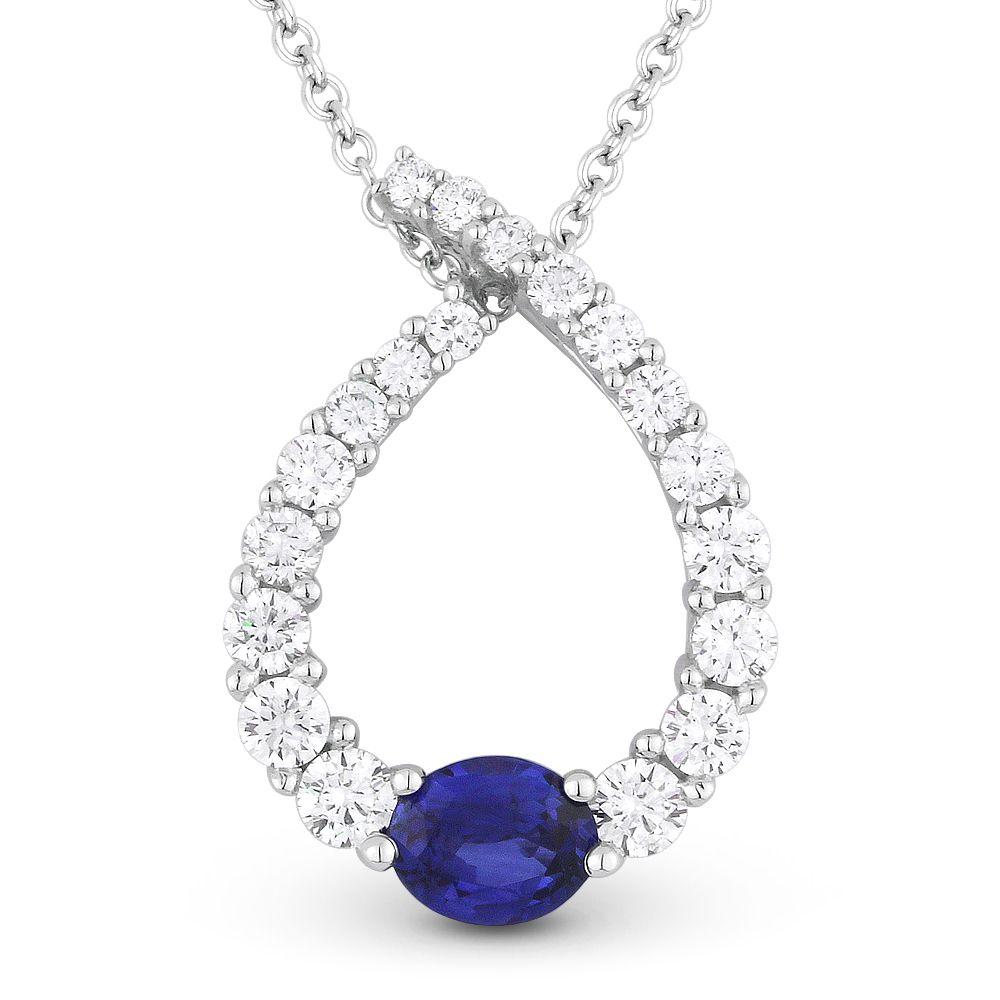 092ct sapphire diamond water drop charm journey pendant in 18k 092ct sapphire diamond water drop charm journey pendant in 18k white gold w 14k chain necklace aloadofball Gallery