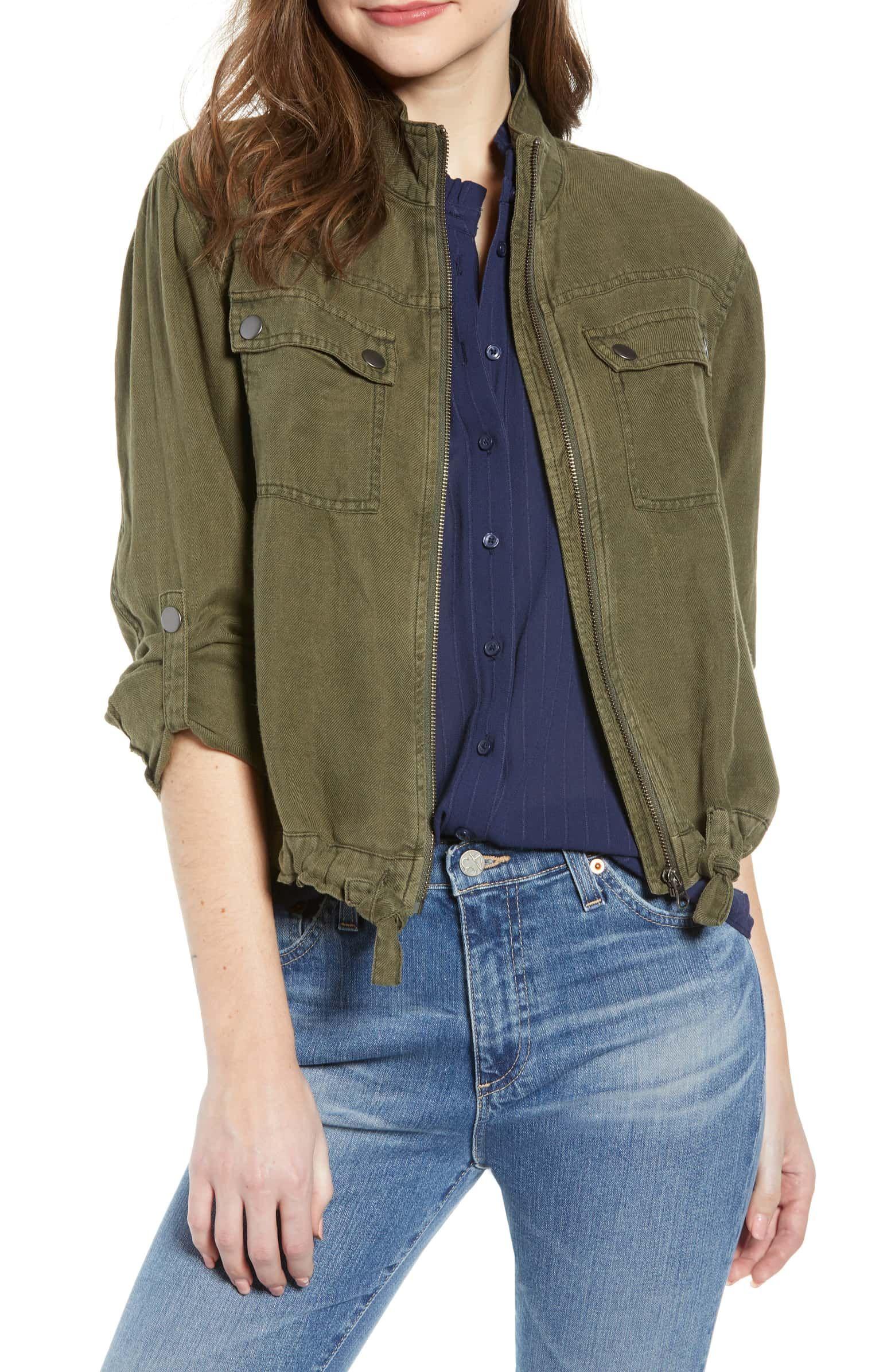 2cf4bb1a60715 TREASURE & BOND Linen Blend Field Jacket, Main, color, OLIVE SARMA ...