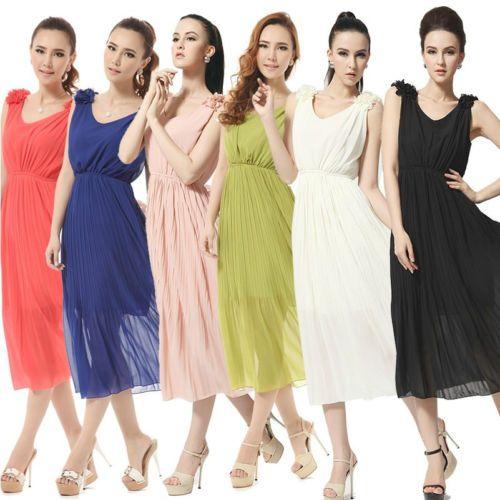 Summer Beach Scoop Neck 3D Petal Sleeveless Elastic Waist Pleated Long Dress | eBay