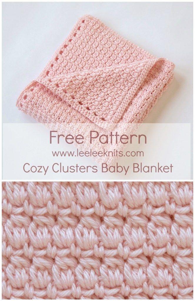 Cozy Clusters Free Crochet Baby Blanket Pattern #babyblanket