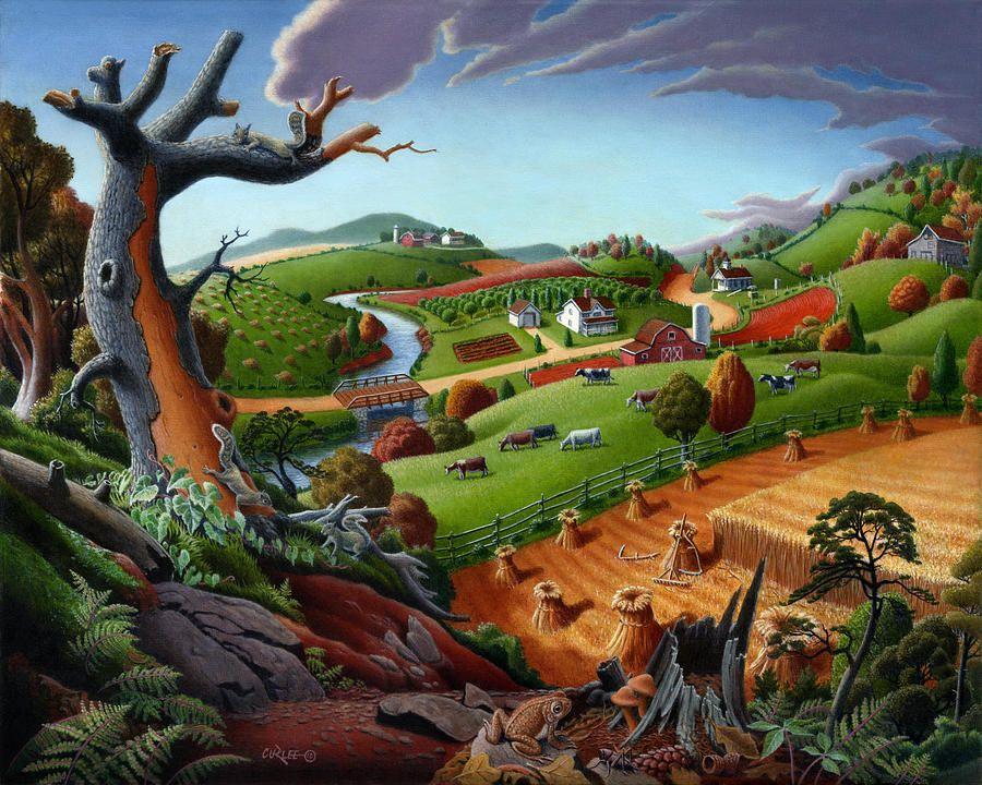 country-farm-landscape-folk-art-autumn-wheat-field-fairy-tale-harvest-rural-americana-american-fall     by Walt Curlee