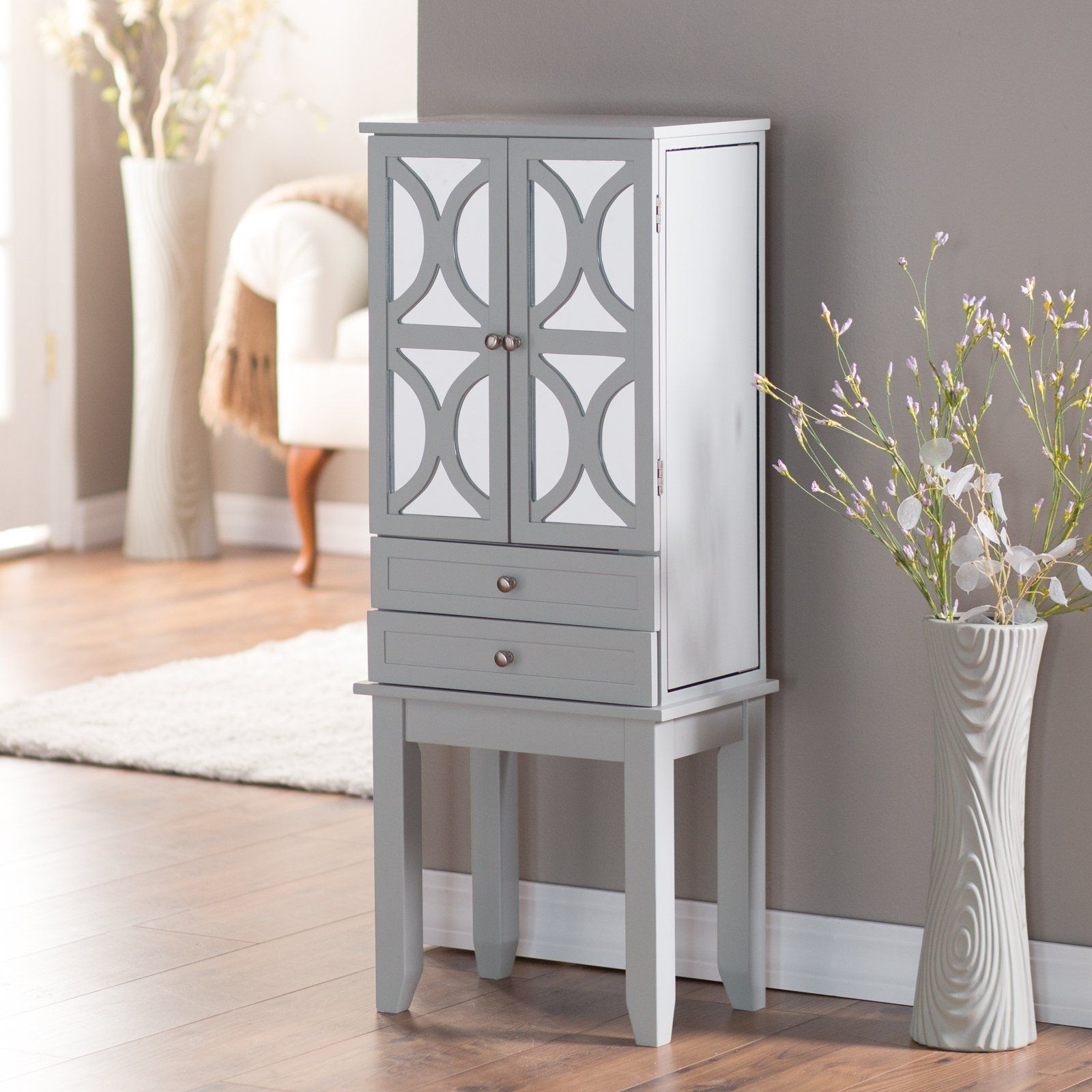 Belham Living Mirrored Lattice Front Jewelry Armoire   High Gloss Gray   Jewelry  Armoires At Hayneedle