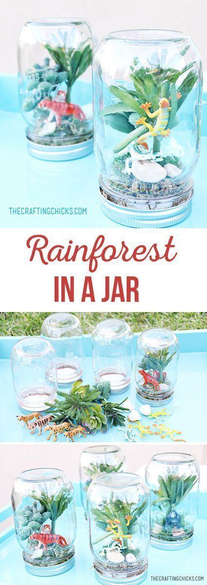 Rainforest Craft Ideas For Kids Part - 48: DIY Kids Craft - Rain Forest In A Jar