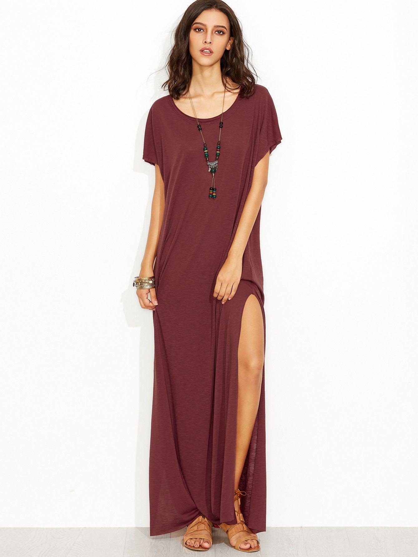 6249737866d5 ... L 52cm Fabric  Fabric has some stretch Season  Summer Type  Tshirt  Pattern Type  Plain Sleeve Length  Short Sleeve Color  Burgundy Dresses  Length  Maxi ...