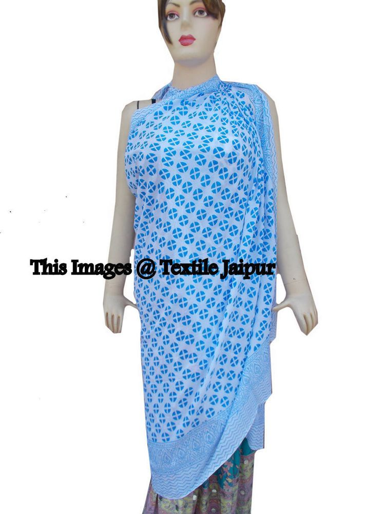 a635620524 Indian Pareos Sexy Beach Wear Hand Block Print Pareo Sarong Floral 100%  Cotton #Handmade #CoverUp
